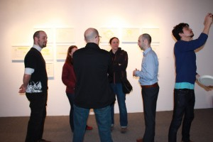 Conversing in front of Marc Ngui's work